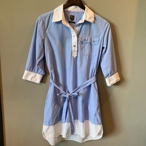Cavi Blue & White Shirt Dress with Tie Size Med